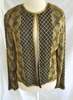 4df3239fa5b Vintage Deadstock NOS Allover Beaded Gold Silk Trophy Jacket Flowy Papell M  Gold Silk
