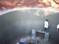 Plastering the water tanks