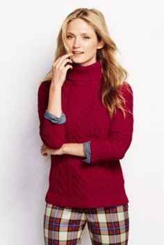 Women s Lofty Blend Aran Cable Turtleneck Sweater Cable Sweater 7734f8584