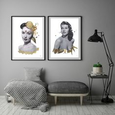 Grey walls with collage artwork from Danish artist Gitte Lacarriere