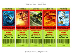 Ninjago Lego Birthday Party Invitations Ticket Style Customization for Your Child. $6.99, via Etsy.