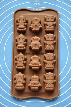 Cute Robots Flexible Silicone Mold Cake Mold by MoldHouse on Etsy, $3.99