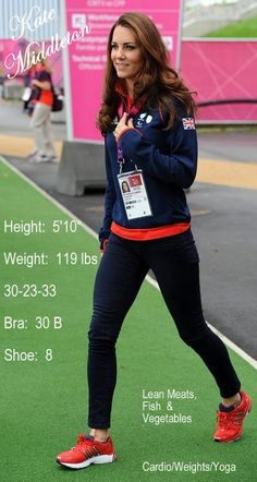 Amazing Kate Middleton!!  Her healthy diet consists of fresh lean meat, fish, and vegetables.  Exercises daily by running, cardio, weights, & yoga.
