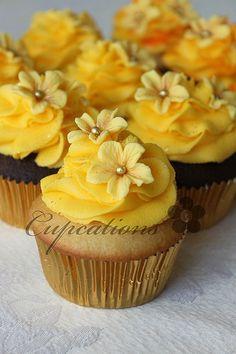 bright yellow cupcakes.
