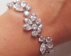Crystal Wedding Bracelet Cubic Zirconia Bracelet by TheRedMagnolia