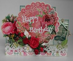 A Step Card - Happy Birthday - Secret Admirer - Kaisercraft Secret Admirer, Step Cards, Pre Writing, Handmade Cards, Floral Wreath, Card Making, Happy Birthday, Scrapbooking, Tags