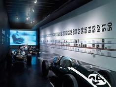 Timeline - Formula One, Design Museum, London - Studio Myerscough Design Museum London, Museum Exhibition Design, Exhibition Space, Museum Plan, Car Museum, Environmental Graphics, Environmental Design, Signage Display, Good Looking Cars