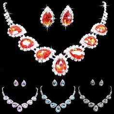 Stylish Crystal Rhinestone Waterdrop Jewelry Set