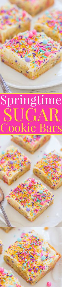 Springtime Sugar Cookie Bars with Cream Cheese Frosting - Sugar cookies in bar form with SPRINKLES galore!! FAST, EASY and yummy! Great for springtime, Easter, Mother's Day, showers, and parties!!