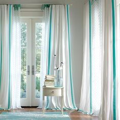 Suite Ribbon Drape | PBteen - adding drapes are easy! Simple but a tension rod, adjust the width to the window, thread the curtain through and voila!