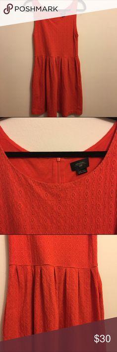 Anthropologie Deletta Dress Vibrant red. Pockets! Textured pattern sleeveless dress. Back hidden zipper. Anthropologie bought, Deletta brand. Anthropologie Dresses