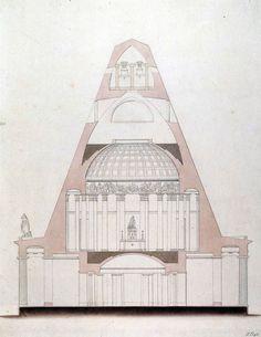 Franz Engel - Design for the Festetics-Mausoleum in Keszhtely, 1820