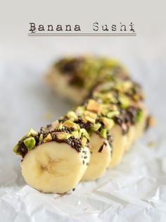 Banana Sushi- the best snack ever! #recipe #fitfluential #glutenfree