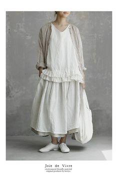 【送料無料】Joie de Vivreベルギーリネンワッシャー ギャザーレイヤードスカート