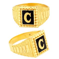 Men's Initial Ring made of 22carat Yellow Gold & Enamel  Available in bulk orders at www.MarketOrders.net  #MarketOrders #goldjewelry #B4B #Online #Marketplace #Retailers #SMEs #Connecting #Manufacturers #Men's #GoldRing #Rings #Jewellery #UK