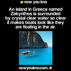An island in Greece named Zakynthos is surrounded by crystal clear water, so clear it makes boats look like they are floating in the air
