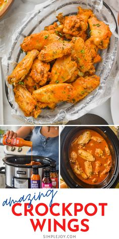 These delicious Crockpot Chicken Wings are so incredibly simple to make and can be done in any flavor you want! Make them for a party, a backyard BBQ, or game day! They are sure to steal the show. Appetizer Recipes, Dinner Recipes, Appetizers, Slow Cooker Recipes, Crockpot Recipes, Different Chicken Recipes, I Love Food, Good Food, Cooking Ideas