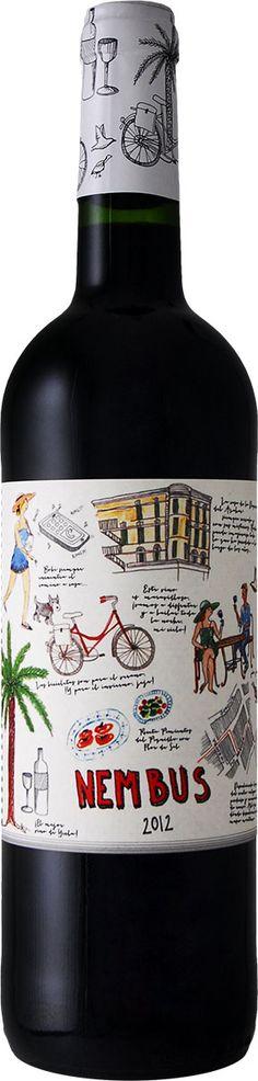 Wein Etikett - Nembus - Comic verspielt Zeichnung