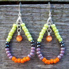 Boho Fruit Bites - Lime, Purple and Orange Beaded Teardrop Hoop Earrings by Angelof2, $15.00