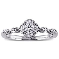 Miadora 1/5ct TDW Diamond Floral Infinity Engagement Ring in 10k White Gold (Size 7.5), Women's