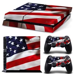 PS4 Playstation 4 Console Skin Decal Sticker USA Flag + 2 Controller Skins Set #ZoomHit