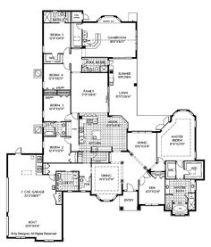 PLAN DHSW62604  Mediterranean 4378 sq.ft.  5 bedroom 4 bath 1 half