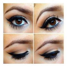 Genius way of doing winged eyeliner for hooded eyes without having the jagged edge when you close your eyes