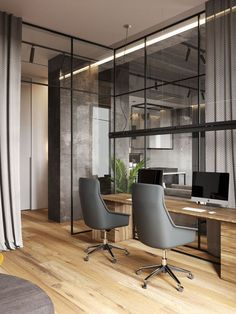 A Glass Wall Separates The Living Room From The Home Office In This Modern Loft Apartment Home Office Ideas – In this modern apartment, and located behind a glass wall, is the home office Modern Office Design, Office Interior Design, Office Interiors, Modern Offices, Modern Lofts, Office Designs, Corporate Offices, Modern Loft Apartment, Loft Apartments