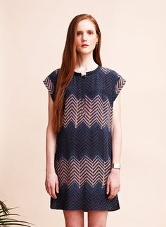 Sukie Dress, blue/pink zigzag