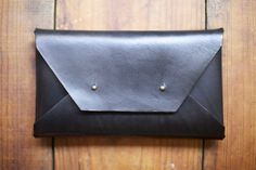 Large Black Leather Clutch by JacksRedBarn on Etsy, $130.00