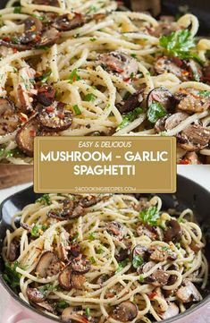 A fast and easy recipe for spaghetti tossed in a sautéed mushroom, garlic, and butter sauce. Garlic Spaghetti, Spaghetti Dinner, Spaghetti Recipes, Pasta Recipes, Dinner Recipes, Cooking Recipes, Garlic Pasta, Pasta Dishes, Food Dishes