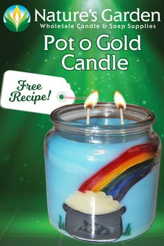 Pot o Gold Candle Recipe is a free beeswax candle recipe by Natures Garden Candle Making. This homemade candle recipe uses green clove and aloe scent. Gold Candles, Beeswax Candles, Garden Candles, Soap Supplies, Homemade Candles, Candlemaking, General Crafts, How To Make Homemade, Recipe Using