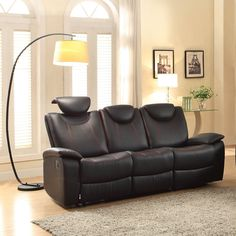 Talbot Contemporary Black Bonded Leather Double Reclining Sofa