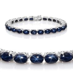 Liquidation Channel: Thai Blue Star Sapphire Bracelet in Platinum Overlay Sterling Silver (Nickel Free)