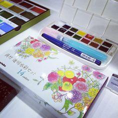 呉竹 透明水彩セット #watercolor