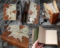 FACEBOOK | ETSY | TUMBLR | INSTAGRAM | WEBSITE & BLOG | COMMISSIONS INFO Sold. This one has a cover made of leather and old distressed wood. It has been bound by hand with waxed linen thread. T...