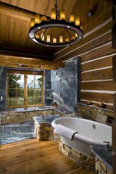 Moder Log Home Bathrooms Design Ideas, Pictures, Remodel, and Decor - page 36