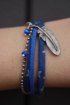 Bracelet multi liens : ruban, chaine, suédine : Bracelet par 28avril