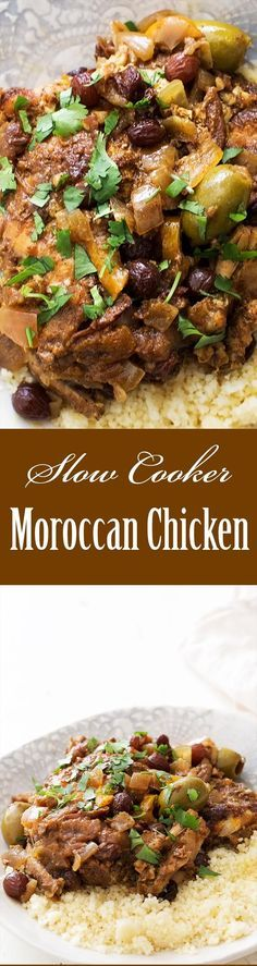 Slow Cooker Moroccan Chicken ~ Don't have a tagine? Make Moroccan chicken in a slow cooker, it's easy! Chicken thighs, plenty of spices, onions, green olives, lemons, raisins, cooked low and slow until fall apart tender.