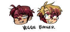 Veggie Burger <3 2p! America and 1p! America<< one of my many Hetalia OTPs...