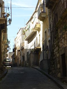 Typical narrow road in a mountain town Vizzini in Sicily
