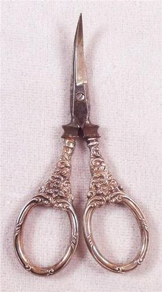 """Vintage Art Nouveau Embroidery Sewing Scissors Repousse Sterling Handles and curved steel blades - vintage 3 1/2"""" - Each grip is marked sterling, and displays an ornate repousse design."""