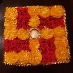 This is a beautiful marigold and rose diya holder. Looks vert much like the real flowers and great for diwali or any occasion. Diwali Decoration Items, Thali Decoration Ideas, Diwali Decorations At Home, Festival Decorations, Flower Decorations, Diwali Diy, Diwali Craft, Diwali Gifts, Tea Light Candles