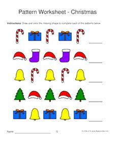 christmas pattern worksheets for kids 1 2 pattern draw and color the missing