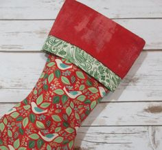 Woodland Christmas Stocking  Red Personalized by bungalowquilts