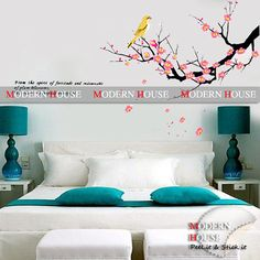 PEEL and STICK Removable Vinyl Kids Wall Decal Wall Sticker - Bird and Plum Blossoms Hanging Tree sur Etsy, $16.93 CAD