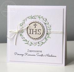 Zaproszenie z zielonym wiankiem na Pierwszą Komunię Świętą Diy And Crafts, Frame, Handmade, Scrapbooking, Hair, First Holy Communion, Invitations, Cards, Envelopes