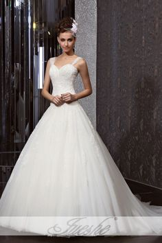 Lace Applique Princess Ball Gown Tulle Wedding Gown with Straps