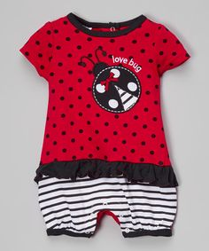 Look at this Baby Mode Red Ladybug Romper - Infant on #zulily today!