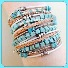 Boho style, custom handmade Wrap Bracelet in Pearl Metallic Leather which wraps around your wrist three times and is secured with a clasp.. Its like